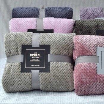 Super Soft Solid Blanket Coral Fleece Blanket Cover for Sofa Bed Thicken Blanket Siesta Office Bedspread Yoga Coverlet for Home