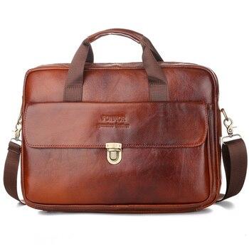 Genuine Oil Wax Leather Business Handbag Bag Vintage Real Cowhide Leather Shoulder Bag Luxury Designer Male Handbag Shoulder Bag фото