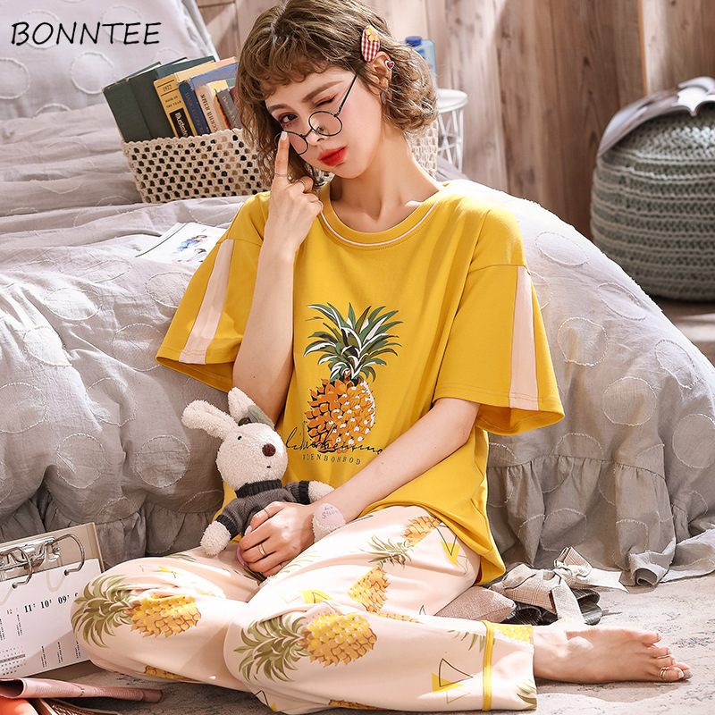 Pajamas Women Kawaii Cartoon Ulzzang Fashion Summer Thin Famme Sleepwear Comfortable Trendy Cotton Loose Lady Homewear 23 Colors