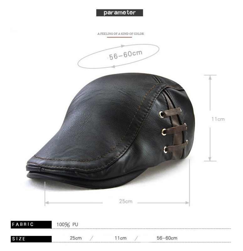3 色最新の男性の包帯合成皮革ベレー帽キャップゴルフ帽子冬の屋外帽子 PU キャップ帽子 Craisy 必要を取る見られる