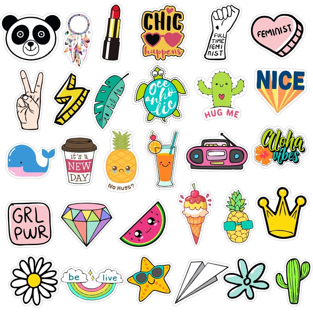 100PCS Cool Summer Vsco Stickers Pack Pink Girl Anime Stiker for Children on The Laptop Fridge Phone Skateboard Suitcase Sticker