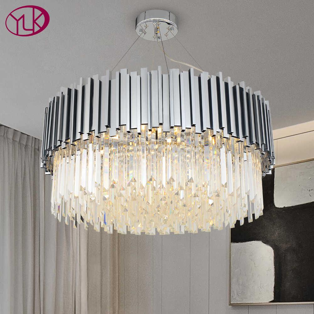 Youlaike nowy nowoczesny żyrandol ze stali chromowanej polerowanej lampy kryształowe luksusowe okrągłe salon jadalnia oświetlenie LED do pokoju