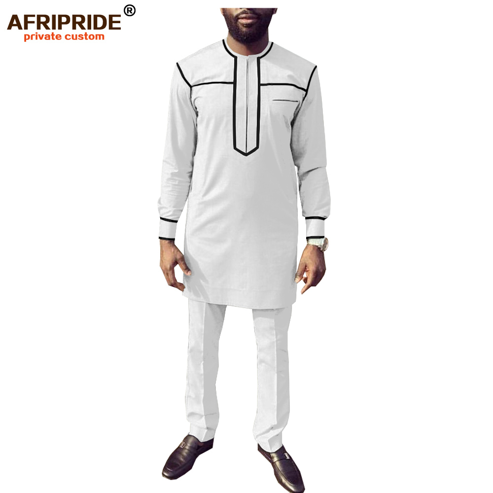 African Men Clothing Set Dashiki Shirts And Ankara Pants Tracksuit Casual Tribal Attire Blouse Coats AFRIPRIDE A1916068B