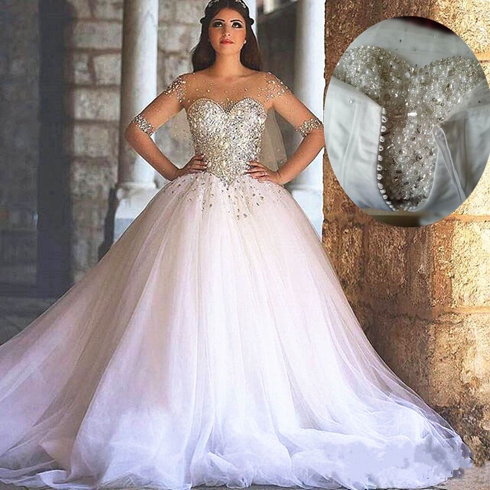 White Half Sleeves Pearls Beading Perfect Handworks Custom-Made Wedding Dresses Lace-up Vestido De Custom Made Bridal Gowns