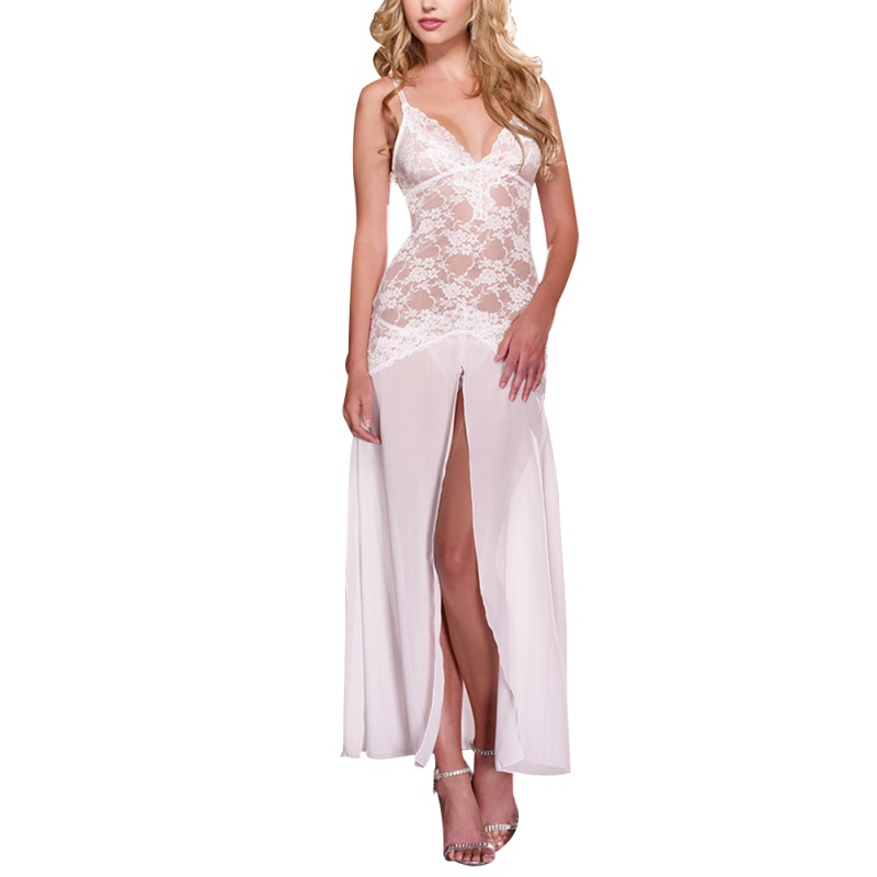 Sexy Women Lace Lingerie Night Dress Summer Sleeveless Soft Long Dress Solid V-Neck Sleepwearr