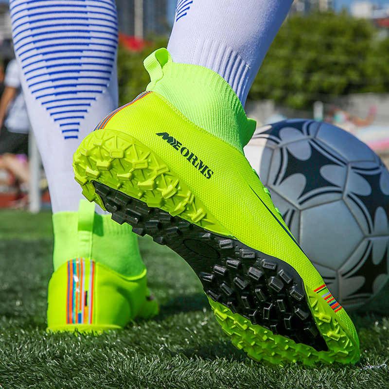 Erkekler futbol kramponları futbol Cleats çizmeler uzun sivri TF sivri ayak bileği yüksek Top Sneakers yumuşak kapalı çim Futsal çocuk futbol ayakkabıları