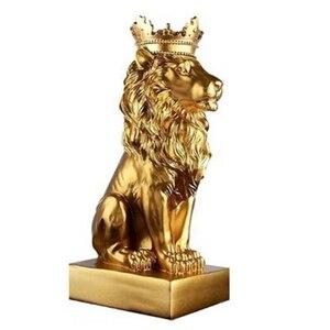 Статуя короны льва для дома, офиса, бара, статуя льва, скульптура из смолы, модель ремесла, украшения животных, абстрактное искусство, украше...