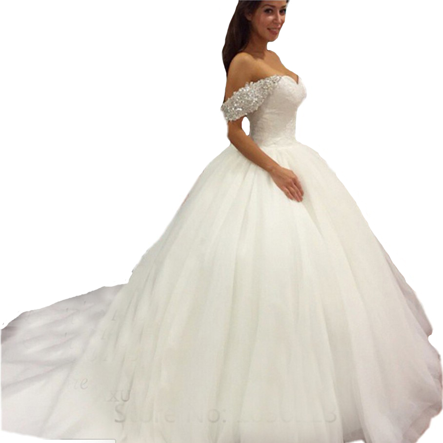Prices In Euros Ball Gown Wedding Dress 2016 Sweetheart Off The Shoulder Vestido De Novia Pretty Tulle Beadings Bridal Dresses