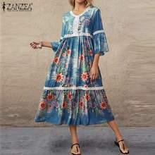 ZANZEA Women Summer V Neck Flare Sleeve Holiday Dress 2020 Bohemian Floral Printed Lace Crochet Sundress Oversize Beach Vestidos