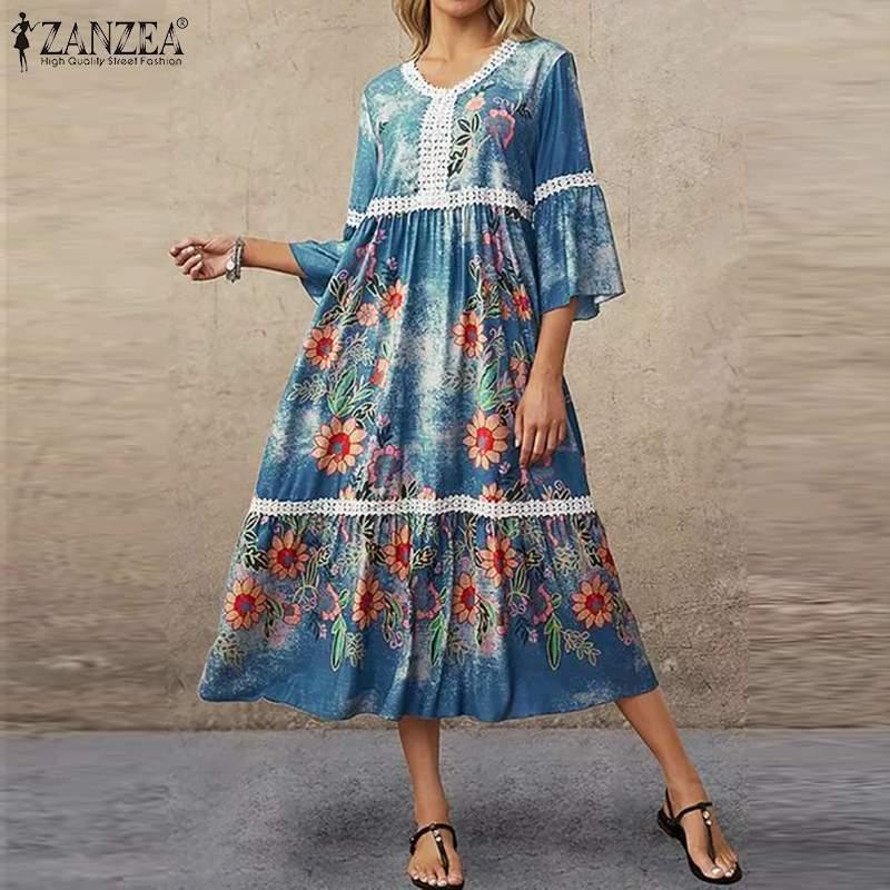 Zanzea feminino verão v pescoço alargamento manga vestido de férias 2021 boêmio floral impresso rendas crochê vestidos praia oversize
