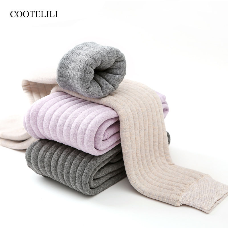 COOTELILI Warm Winter Leggings For Girls Thick Warm Elastic Waist Girls Leggings Kids Long Pants Girl Clothing
