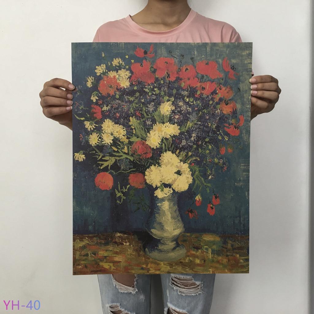 Плакат маслом Ван Гога Мона, Винтажный Классический крафт-бумага, плакат, живопись, наклейки на стену, домашний декоративный YH-31-42 - Цвет: YH-40