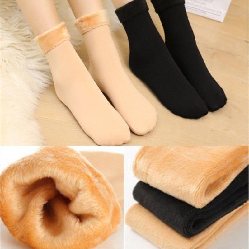 Casual Socks For Girl&Boy Nylon Plus Velvet Thickening Socks Solid Breathable Elastic Force Lady's Mid Women Warm Socks Winter 1