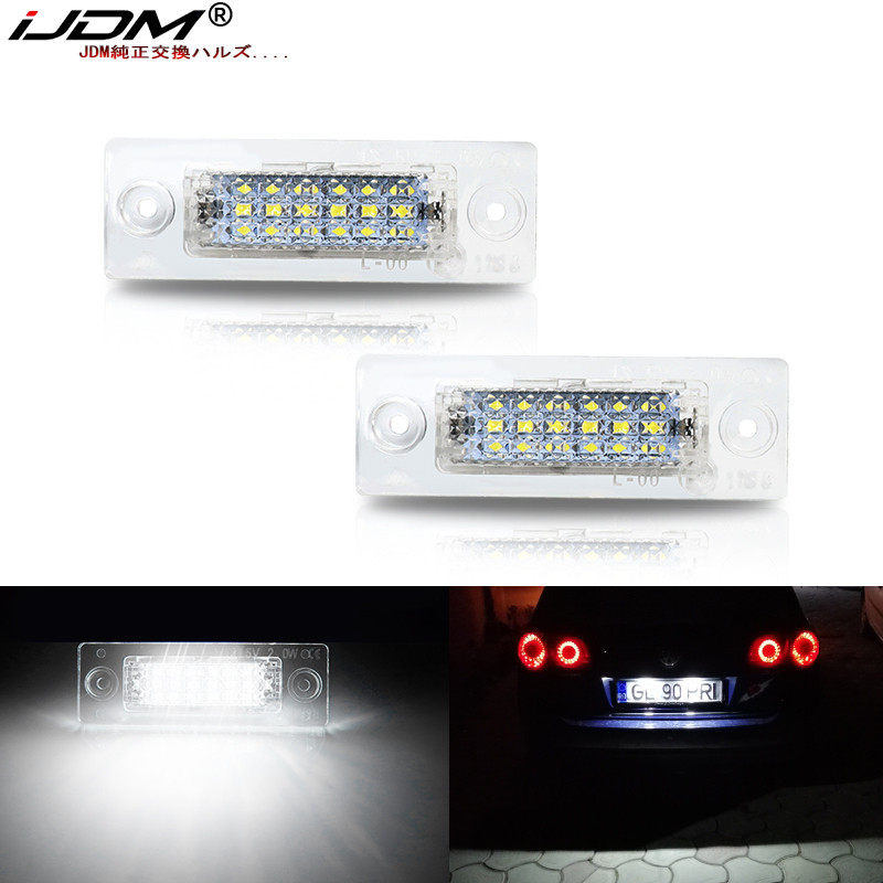 iJDM 12V <font><b>LED</b></font> Car License Number Plate <font><b>Light</b></font> Lamp No Error For <font><b>VW</b></font> Touran Golf Caddy Jetta MK5 <font><b>T5</b></font> Passat Cimousint SKODA Superb image