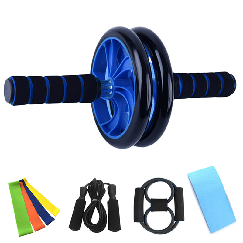 8 Piece Set Yoga Fitness Bands Resistance Skipping Rope Abdominal Roller Wheels Elastique Musculation Sport Training Equipment