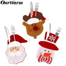 Ourwarm Christmas Table Decoration 3pcs Non-Woven Cutlery Bag New Year 2020 Fork Knife Tableware Holder