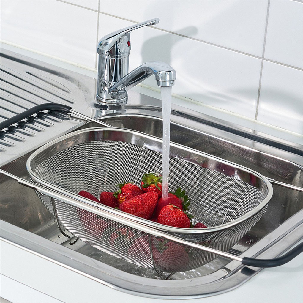 New Pull Retractable Drain Basket Rack Stainless Steel Sink Dish Rack Vegetables Basket Kitchen Sink Accessories