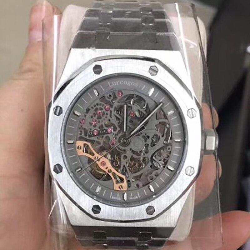 Luxus Marke Neue Automatische Mechanische rose gold Männer Uhr Sapphire Glas Transparent Skelett Gold Tourbillon Uhren AAA + - 2
