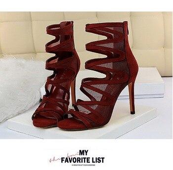 2020 High-heeled stiletto high-heeled mesh hollow sexy sexy thin nightclub women's sandals women's shoes sandals