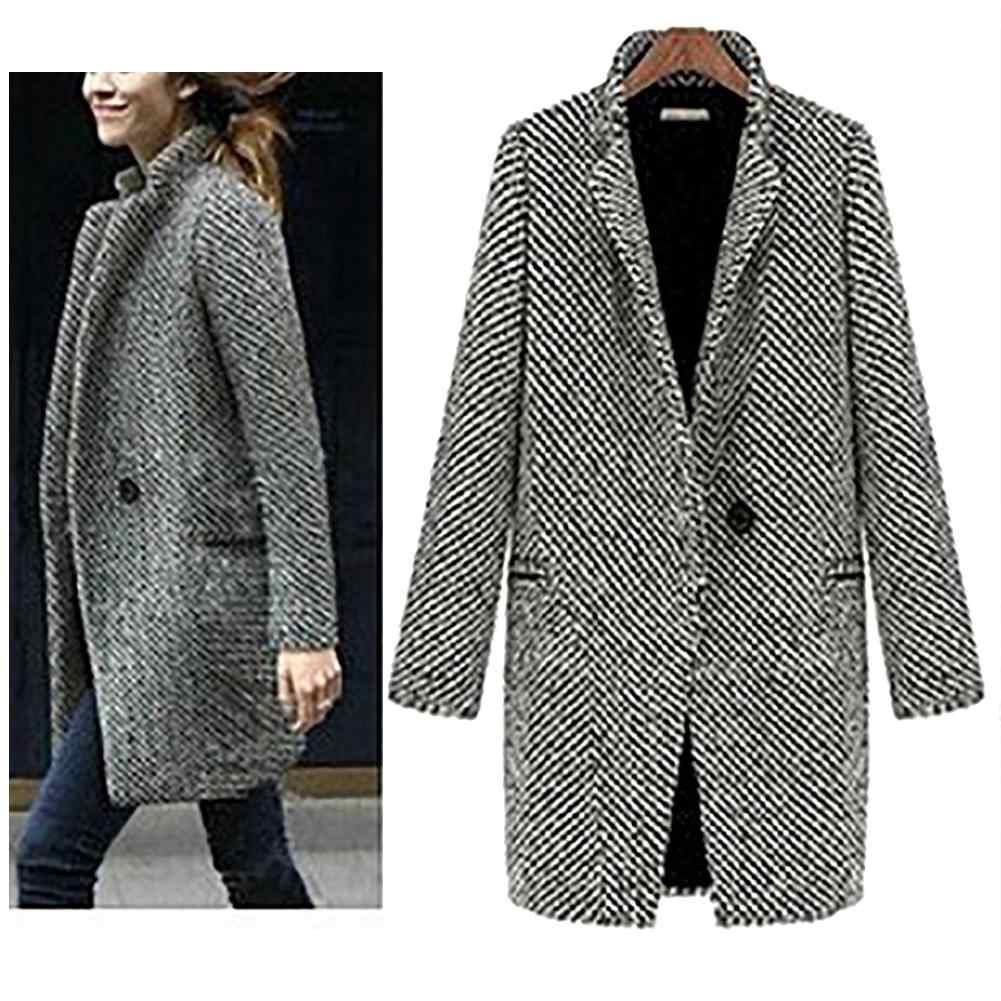 2019 Nieuwe Vintage Wollen Jas Single Button Pocket Oversize Lange Trenchcoat Bovenkleding Vrouwen Houndstooth Katoen Jas