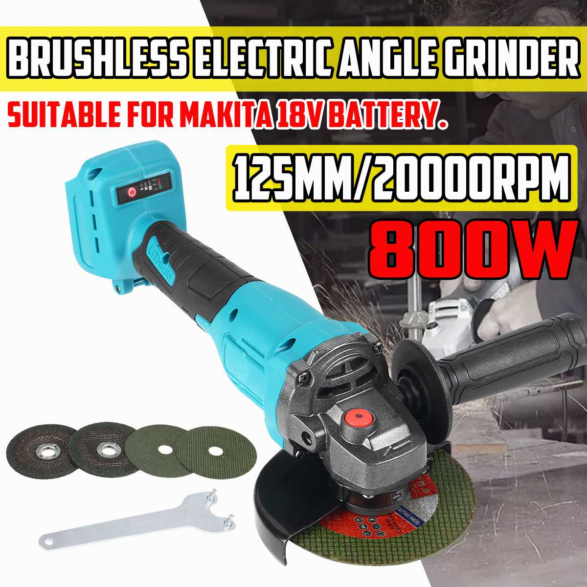 Brushless Angle Grinder 125mm 800W 20000rpm Electric Angle Grinder Machine with 4pcs Angle Grinding Disc for Makita 18V Battery