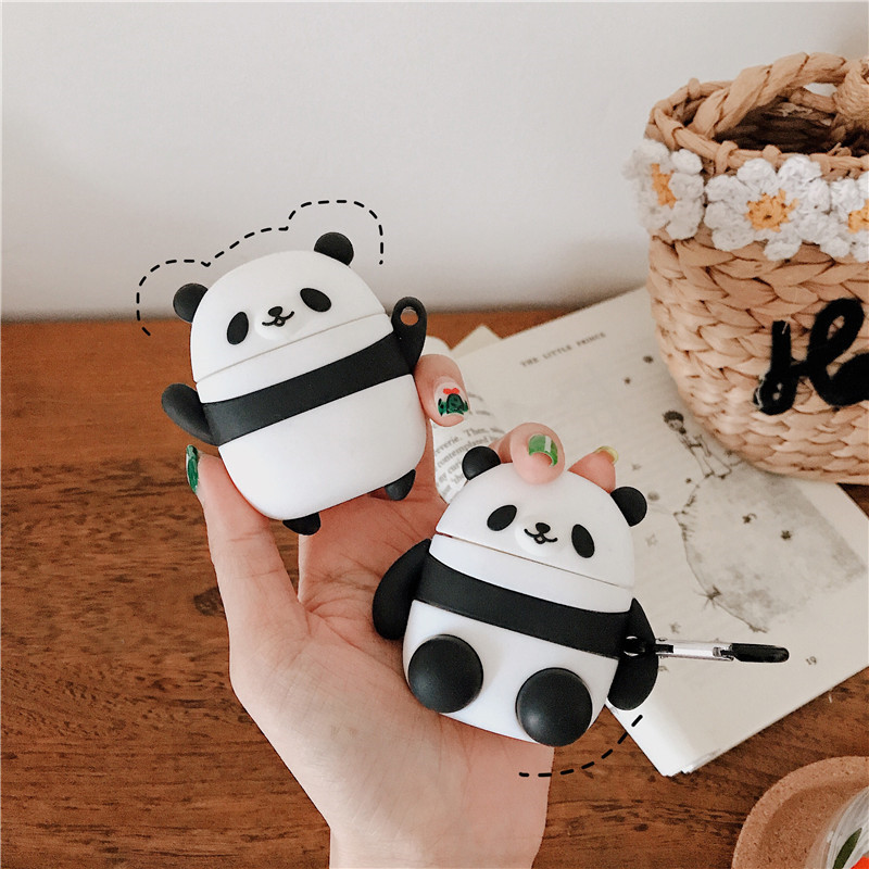 For AirPod 2 Case 3D Panda Cartoon Soft Silicone Wireless Earphone Cases For Apple Airpods Case Cute Cover Funda