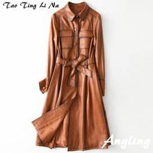 Tao Ting Li Na cappotto in vera pelle di pecora donna nuovo Trench lungo in vera pelle sottile H49