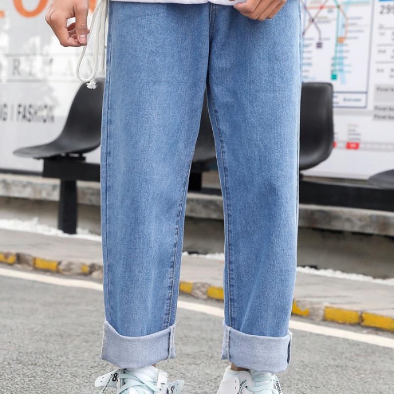 New Style Jeans Popular Brand Loose Straight Korean-style Trend Pendant Sense Dad Pants Hong Kong Flavor Pants Men's Wide-Leg Bi
