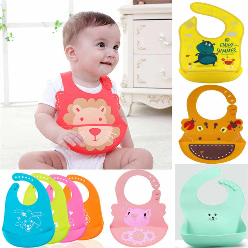 Animal Design Kids Baby Bib Waterproof Silicone Bibs Wipe Roll up Carry Bag O