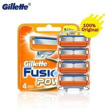 Gillette fusion5 power original lâmina de barbear genuíno cinco camadas lâmina de segurança com aparador precisão cassete para barbear