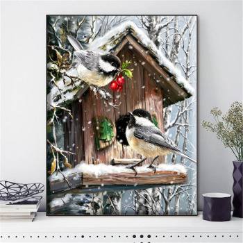 HUACAN Cross Stitch Bird Animal Needlework Sets For Full Embroidery Winter Scenery Kits White Canvas 14CT DIY Home Decor 40x50cm