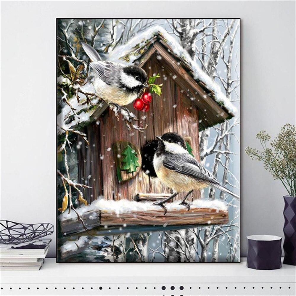 HUACAN Pássaro Animal do Ponto da Cruz Needlework Conjuntos Para Kits de Bordado Cheio Cenário do Inverno Lona Branca 40 14CT DIY Decoração Da Sua Casa x 50cm