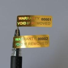 GARANZIA ANNULLARE SE RIMOSSO 10x30 millimetri di sicurezza VOID Ologramma colore Dorato adesivo Olografico numero di Serie