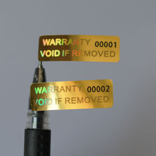 WARRANTY VOID IF REMOVED  10x30mm security VOID Hologram Golden color Holographic sticker Series number