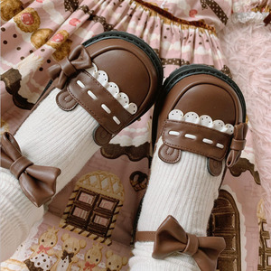 Милые японские Туфли с круглым носком для девочек bobo bear, милые винтажные туфли для девочек в стиле Лолиты, милые туфли принцессы с бантом, ...
