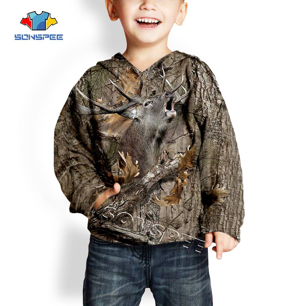 SONSPEE Child Pullover Hoody Sweatshirts Top Deer Hunting 3d Camouflage Fashion Kids Hoodie Casual Streetwear Boys Baby Clothing