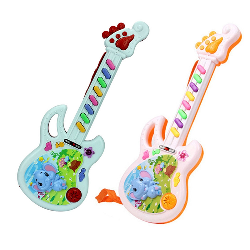 1 Piece Musical Educational Toy Baby Kids Children Portable Elephant Guitar Keyboard Developmental Cute Toy Color Random