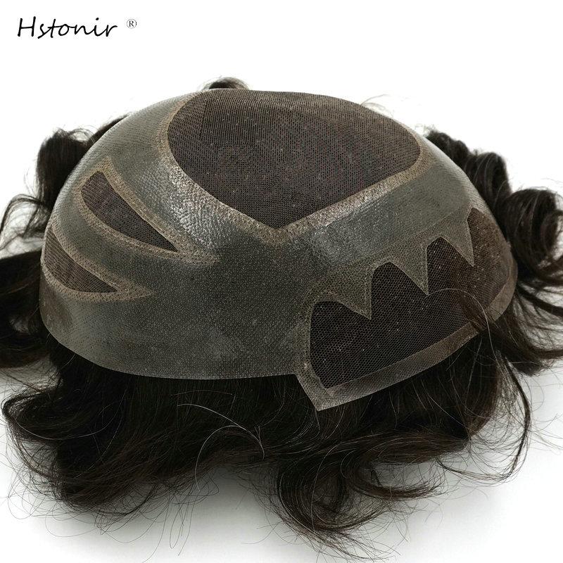 Hstonir Men Wig Human Hair Wigs Pelucas Peruk Hombre Perruque Toupee Men Protesis Capilar Hombre Indian Remy Hair Versalite H010