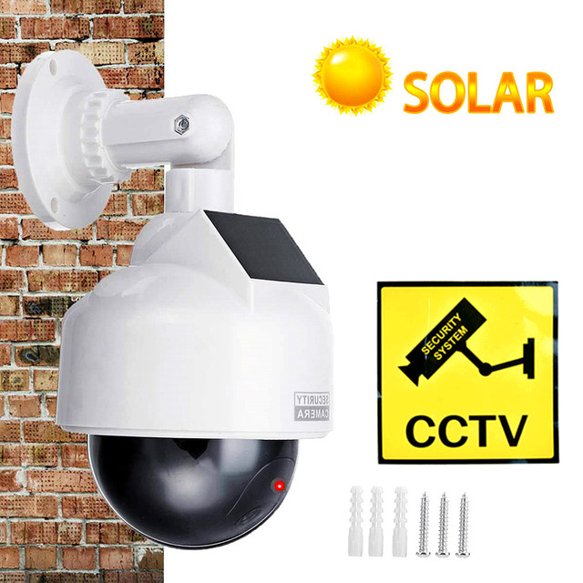 cctv dummy camera fake solar power video surveillance outdoor flashing red led Simulation ptz battery security dome dummy cam 1