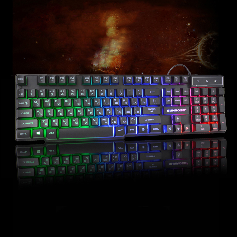 Russian USB Wired Backlit Mechanical Gaming Keyboard For PC Laptop Computer