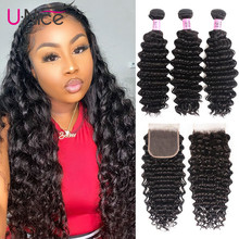 "UNice Hair Peruvian Deep Wave Bundles with Closure 4PCS 10 20 "" Human Hair Bundles With Closure Free Middle Part"