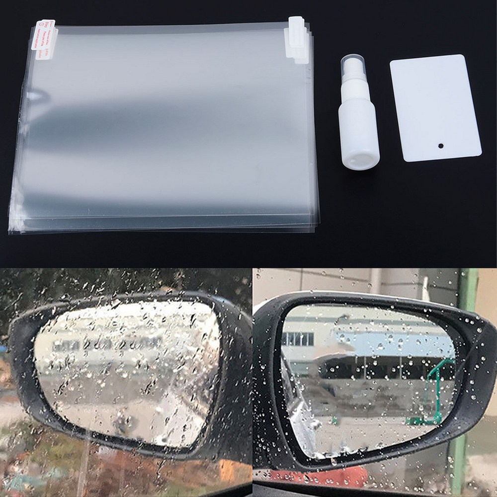 4Pcs Car Rear Mirror Protective Film Anti Fog Window Clear Rainproof Rear View Mirror Protective Soft Film Auto Accessories