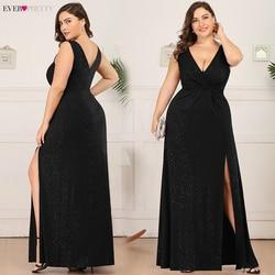 Большие размеры, блестящие платья для выпускного вечера Ever Pretty EP07505, с двойным v-образным вырезом, с разрезом по бокам, с рюшами, без рукавов, с...