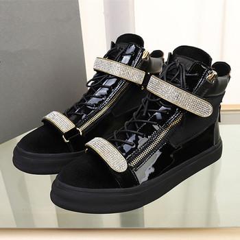 Luksusowe mężczyźni Neakers aksamitne wysokiej-top płaski obcas buty kryształowe Bi-metalowy zamek błyskawiczny mężczyźni buty wysokiej jakości skórzane obuwie Casual tanie i dobre opinie MStacchi Oksfordy CN (pochodzenie) Na wiosnę jesień GENUINE LEATHER Skóra bydlęca RUBBER A008 klamerka Na co dzień