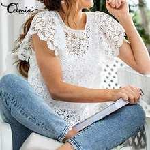 Camicetta di pizzo bianco elegante 2021 moda estate top Celmia camicie da ricamo Sexy scava fuori da donna manica corta con volant donna