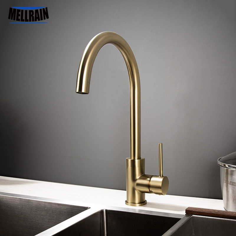 Kitchen Water Tap Brushed Gold & Black Kitchen Faucet Single Handle Rotation Classical Sink Water Mixer