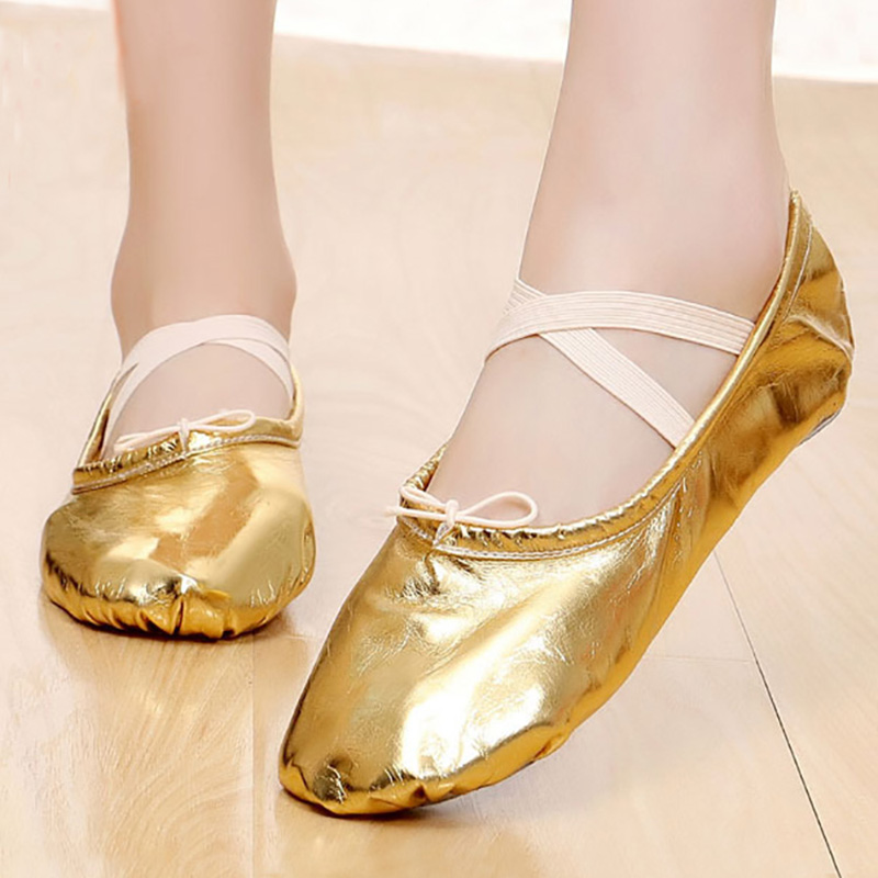 New Professional Pu Gold And Silver Adult Fitness Latin Yoga Training Slippers Belly Ballet Shoes Children's Shoes