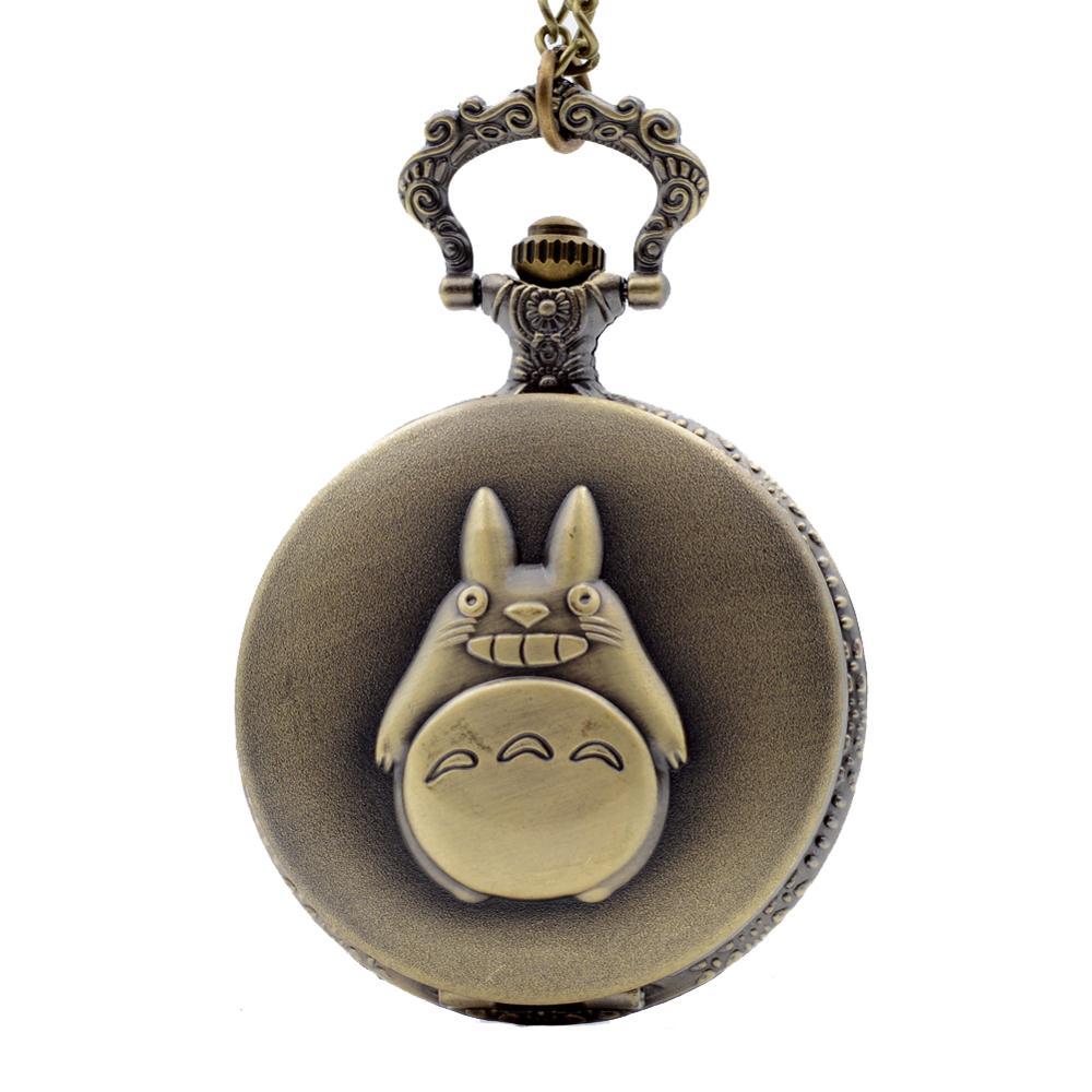Vintage Japan Bronze Anime Animated Totoro Pocket Watch Necklace Chain Retro Quartz Pocket Watches For Kid Gift Relogio De Bolso