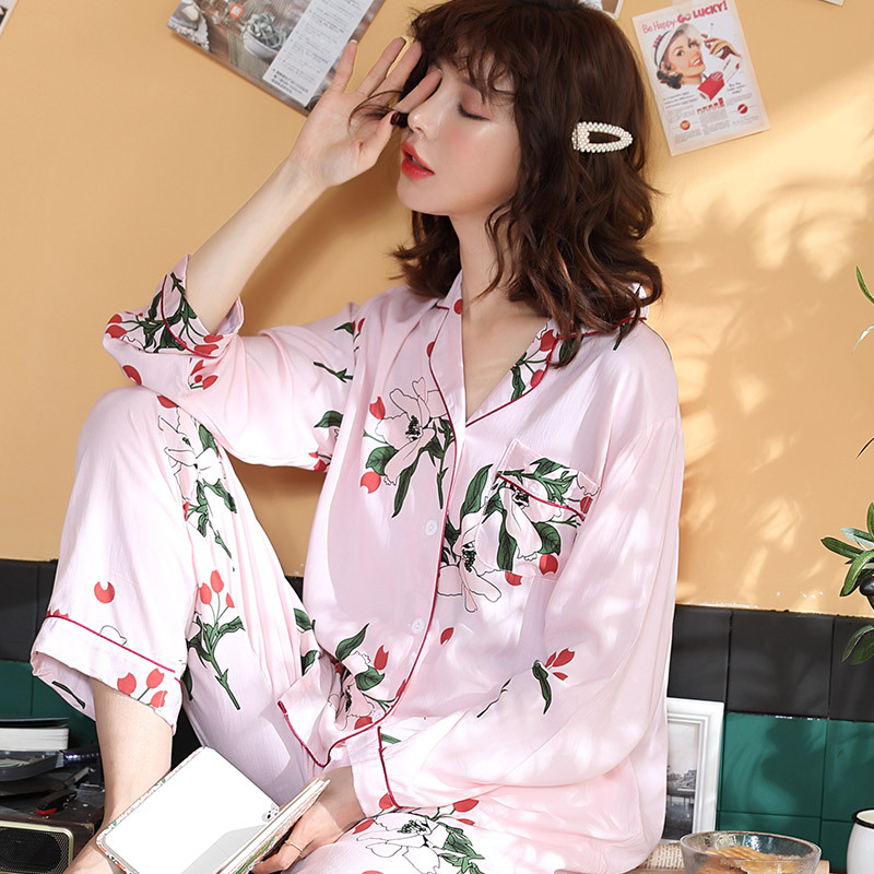 Autumn Women Sleepwear Flower Print   Pajamas     Sets   With Pants Turn Down Collar Long Sleeve Pijama Cotton Thin Nightwear Pyjama