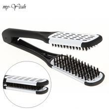 Pro hairdressing straightener náilon alisamento de cabelo duplo escovas v forma pente braçadeira não ferir ferramentas estilo diy casa
